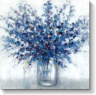 Abstract Flowers Picture Wall Art: Blue Bouquet in Vase Artwork Hand Painted Painting on Canvas for Bedroom Office (28'' x 28'' x 1 Panel)