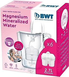 BWT Penguin Electronics - Carafe Filtrante en Magnésium + pack de 6 Filtres, 2.7 L, Blanc