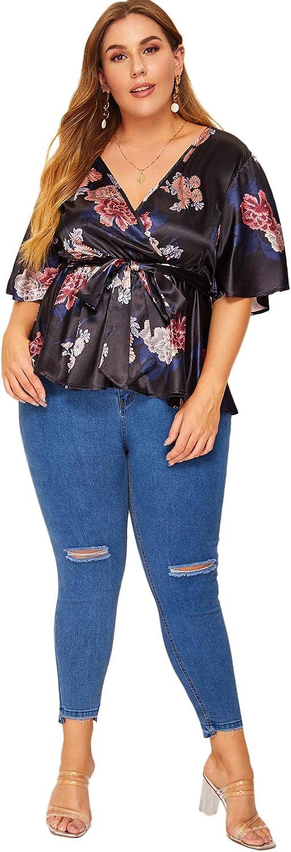 Romwe Womens Plus Size Floral Print Short//Long Sleeve Belt Tie Peplum Wrap Blouse Top Shirts