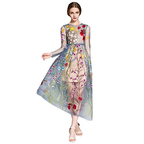 DEZZAL Women s Floral Embroidered Tulle Prom Maxi Dress with Cami Dress 1bfb4bab0