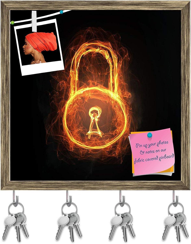 Artzfolio Glowing Light Lock Sign Key Holder Hooks   Notice Pin Board   Antique golden Frame 20 X 20Inch