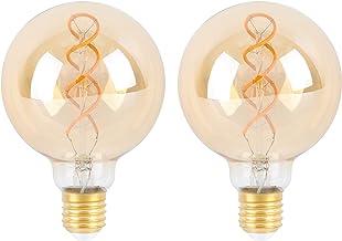 SD LUX E27 ES LED Bulbs sprial Globe Vintage Filament Led Light Bulbs,G95 Amber Dimmable Retro Edison Screw LED Bulbs-6W (...