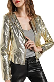 Tanming Women's Metallic Round Neck Zip Up Biker PU Leather Short Bomber Jacket