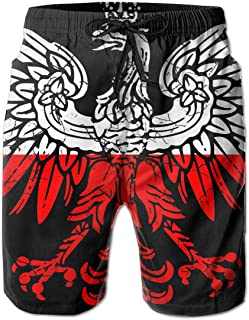 90353b7922 YING Polish Flag Eagle Distressed Men's Beach Board Shorts Swim Trunks  Casual Gym Home Pants with