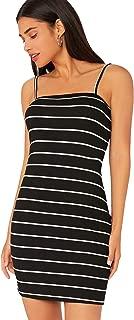 Floerns Women's Rib-Knit Striped Cami Bodycon Dress