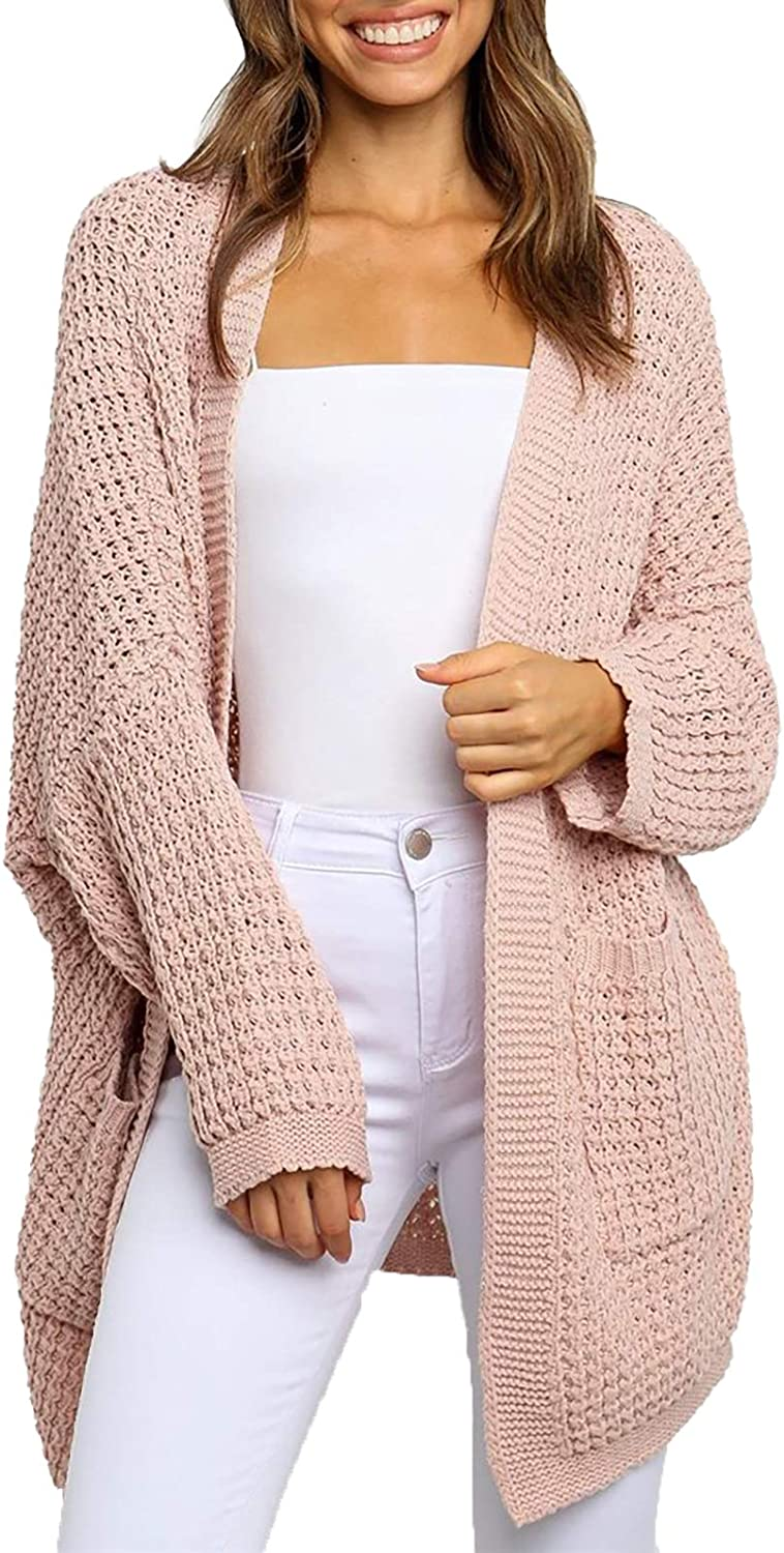 TOTREND Womens Boho Long Cardigans Oversized Batwing Duster Cable Knit Coat Sweaters
