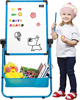 Marble Field 24'' x 18'' Magnetic U-Stand Whiteboard/Kids Flip Chart Easel, Double Sides Whiteboard & Chalkboard Standing White Board, Height Adjustable & 360°Rotating with Bonus Storage Box(Blue)