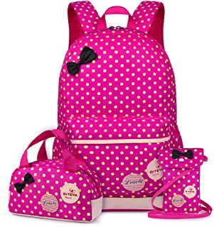Carvas Backpack for Boys & Girls School Bags Polka Dot Backpack 3pcs Kids Book Bags Lunch Bags Purse