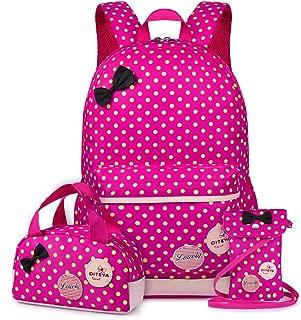 VBG VBIGER School Bags School Backpack Polka Dot 3pcs Waterproof Book Bag with Lunch Bags Purse Girls
