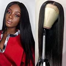 Brazilian Straight Lace Front Wigs Human Hair with Baby Hair Glueless Lace Front Human Hair Wigs Pre Plucked 180% Density Natural Black for black women (20 inches)