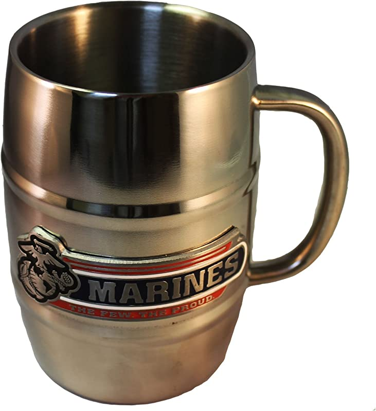United States Marine Corps Barrel Double Wall Stainless Steel Mug 16 Ounce
