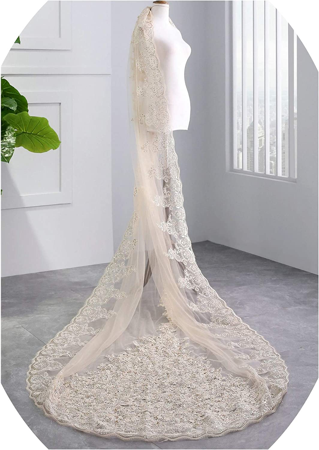 Wedding Veils Long Lace Sequins Ivory White Luxury Bridal Veils for Bride Soft Tulle One Layer voile mariage,Ivory,300cm