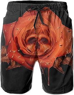 Bernice Winifred Flower Skull Relaxed Men Summer Surf Secado rápido Swim Trunks Shorts Pantalones de Playa con Bolsillo