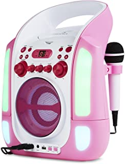 auna Kara Illumina - Equipo de Karaoke , Reproductor de CD y MP3 , Puerto USB , Entrada AUX , Salida de Video RCA , 2 x micrófonos 6,3 mm , Iluminación LED , Regulador Volumen , Color Rosa