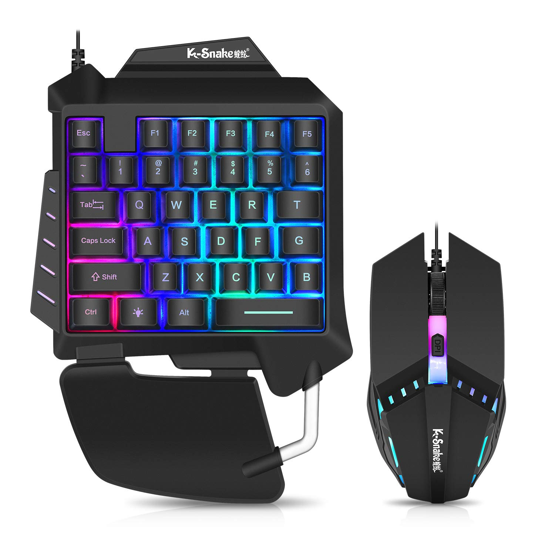 Snpurdiri - Juego de teclado y ratón con retroiluminación con una sola mano, teclado y ratón para juegos con 35 teclas mecánicas, ratón USB con cable para juegos, teclado para juegos de una sola mano