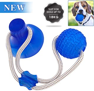 GOCHANGE Pet Molar Bite Toy, Multifunction Interactive Ropes Toys, Self-Playing Rubber Chew Ball Toy with Suction Cup for Chewing, Teeth Cleaning, Suitable for Dogs and Cats