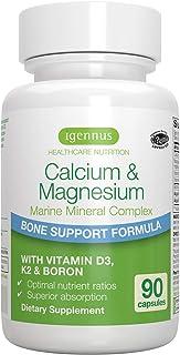 Calcio & Magnesio. Complejo Mineral Marino con Boro. Vitaminas D3 y K2. Vegano. 90 cápsulas