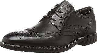 ROCKPORT Men's Dressports Formal Modern Wing Tip Uniform Dress Shoes, Black