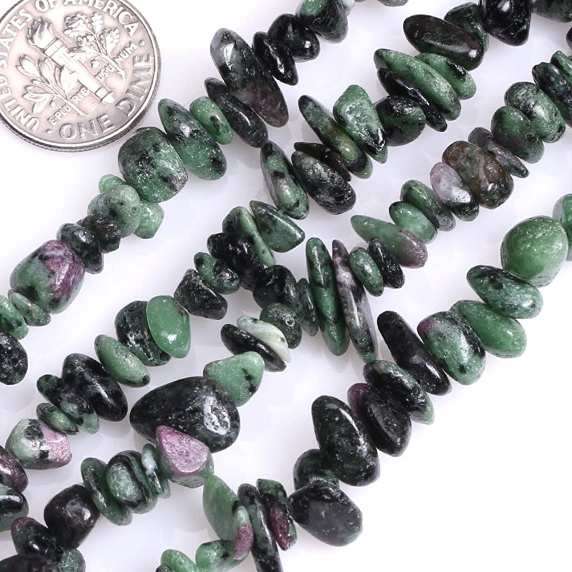 GEM-inside 6mm Chip Green Ruby Zoisite Chips Loose Beads for Jewelry Making Jewelry Beading Supplies for Women