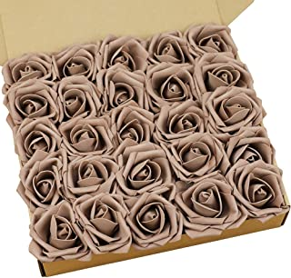 N&T NIETING Artificial Flowers Roses, 25pcs Real Touch Artificial Foam Rose with Stem for Cake Decoration DIY, Wedding Bridesmaid Bridal Bouquets Centerpieces, Party Decoration, Home Display-Taupe