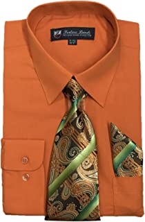 Men's Long Sleeve Dress Shirt With Matching Tie And Handkerchief