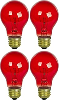 4 Pack 25 Watt A19 Colored Transparent Red Incandescent Medium Base Party Light Bulb