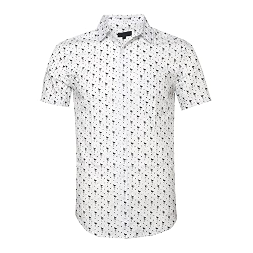 5b4dd6b4 TOPORUS Mens Hawaiian Shirt Swan Printed Casual Short Sleeve Aloha Shirts