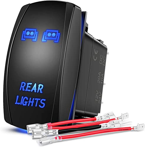 lowest Nilight NI-RS05 LED Light Bar Rocker outlet online sale Switch 5Pin Laser On/Off Rear Lights Rocker Switch 20A/12V 10A/24V online sale Switch Jumper Wires Set,2 years Warranty , Blue sale