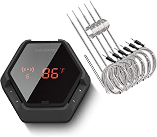 Inkbird IBT-6XS Bluetooth Wireless Grill Thermometer for Smokers,6 Probes Digital Oven BBQ Thermometer, Rechargeable Battery, Timer, Alarm for Kitchen, Food, 150ft Meat Thermometer for Grilling, Black