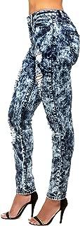 Womens Curvy Fit Stretch Denim Bleach Wash Destroyed Skinny Jeans