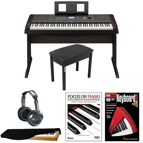 Yamaha DGX650B 88-Key Digital Piano Bundle with Knox Padded Bench, Dust Cover,