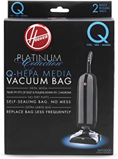 Best Hoover Platinum Type-Q HEPA Filter Vacuum Cleaner Bag, Part 902419001, for Upright UH30010COM, Pack of 2, AH10000, 2 Count Review