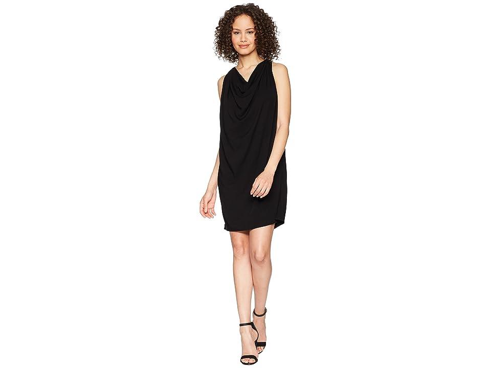 Michael Stars Rylie Rayon Draped Halter Dress (Black) Women