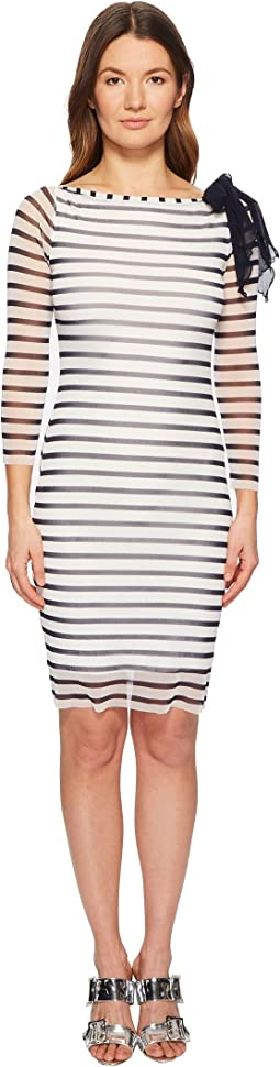 FUZZI - Long Sleeve Stripe Fitted Dress