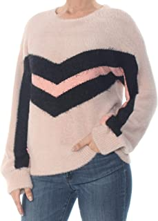 VINCE CAMUTO Women's Long Sleeve Tinsel Crew Neck Chevron Sweater