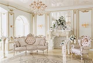 AOFOTO 8x6ft Luxury Indoor Furnishing Backdrop Chandelier Chair Mantel Flower Photography Background Adult Portrait Aristocratic Interior Decoration Photo Shoot Studio Props Video Drop Wallpaper Drape