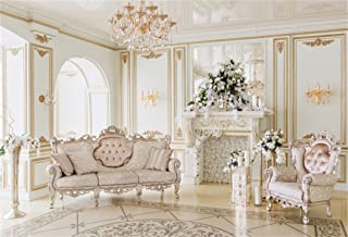 AOFOTO 8x6ft Luxury Indoor Furnishing Backdrop Chandelier Chair Mantel Flower Photography Background Adult Portrait Aristocratic Interior Decoration Photo Shoot Studio Props Video Drop Wallpaper Drape