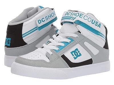 DC Kids Pure High-Top EV (Little Kid/Big Kid) (Grey/Black/Blue) Boys Shoes