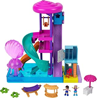 Pollyville Super Slidin' Water Park with Micro Polly & Lila Dolls, Water Park with Water Feature, 3 Slides, Jellyfish Foun...