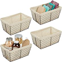 mDesign Metal Farmhouse Home Storage Organizer Basket - Chicken Wire Design, Fabric Liner - for Kitchen, Bathroom, Living Room, Pantry, Cupboard, Shelves, Countertop, Medium, 4 Pack - Bronze/Natural