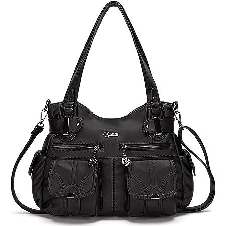 KL928 Tasche Damen Handtasche Umhängetaschen Damenhandtasche Schultertasche Lederhandtasche elegante Taschen hand taschen Henkeltaschen für frauen mit vielen fächern (Schwarz)