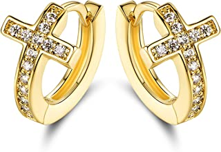 Barzel 18k Gold Layered Crystal Cross Earrings Made With Swarovski Elements