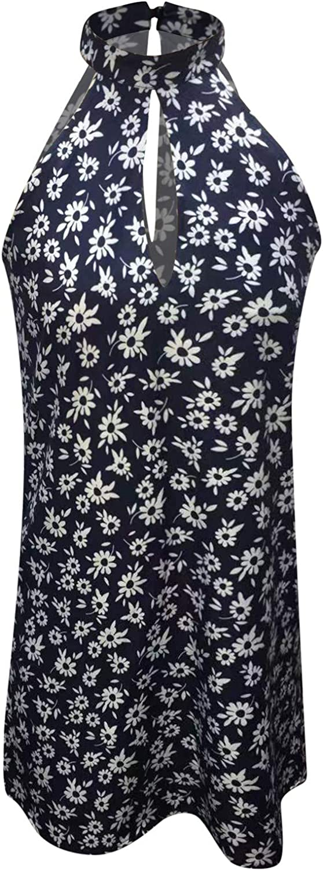INNOVIERA Dresses for Women Casual,Women Halter Neck Summer Casual Sleeveless Mini Dresses Beach Party Sun Dresses