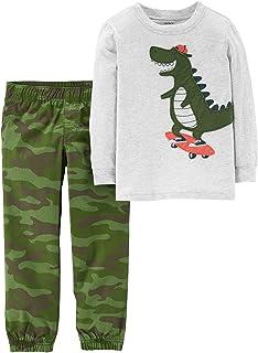 Carter's Baby Boys Dinosaur Camo Jogger Pants Set 6 Months Grey/Green