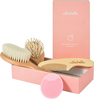 Ullabelle 4 Piece Wooden Baby Hair Brush and Comb Set for Newborns & Toddlers in Chic Gift Box - Ultra Soft Natural Goat Hair and Wood Baby Brush Set Prevents Cradle Cap - Perfect Baby Registry Gift