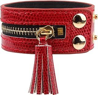 Fusamk Hip Hop Alloy Zipper Tassel Bracelet Bangle,7.0-8.0inches