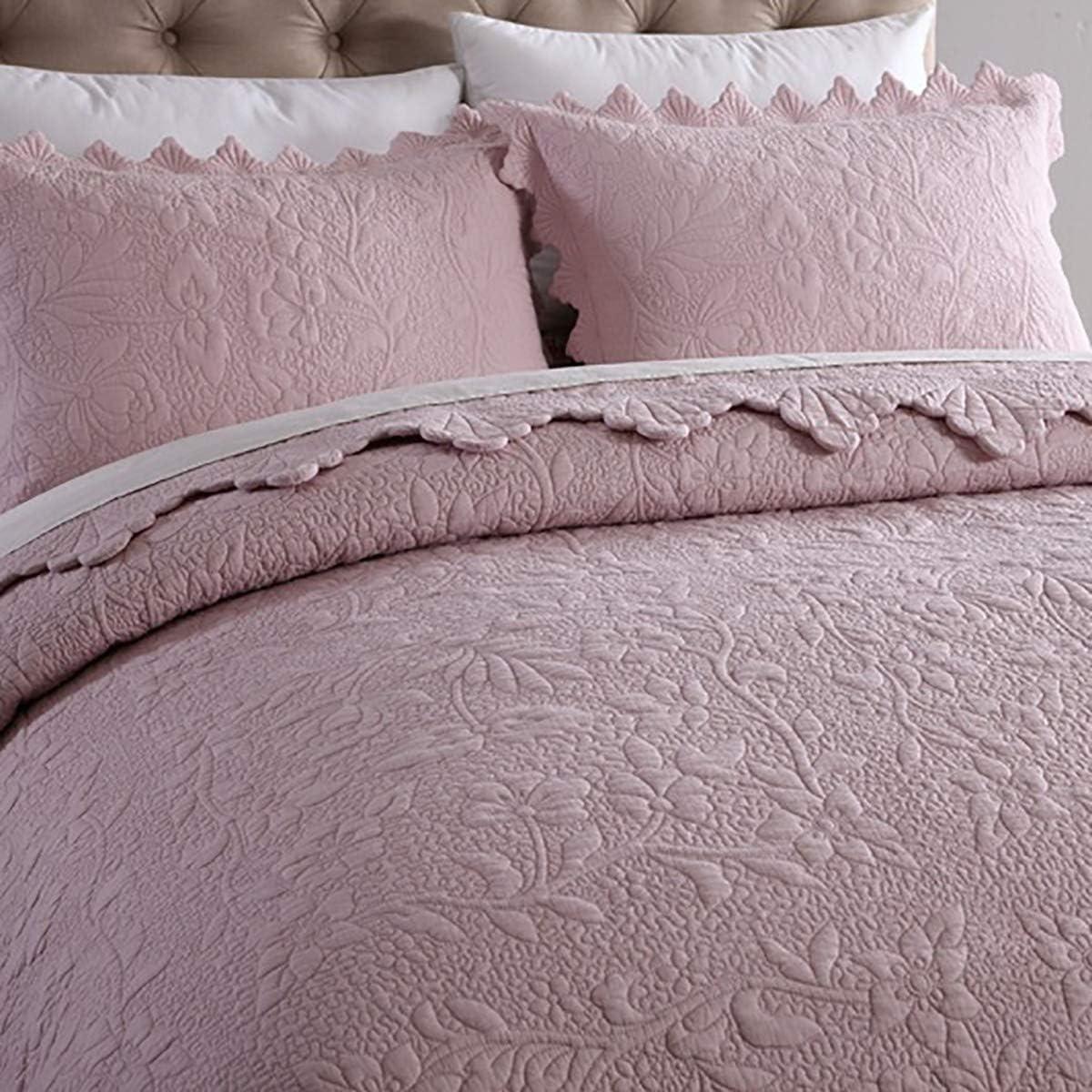 ZTMN Couvre-lit King Size (230 * 250cm) avec 2 taies d'oreiller (50 * 70cm), Couleur Unie brodé Flipable été avec 2 taies d'oreiller Couvertures, Rose, 230 Pink