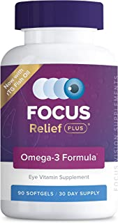 Focus Relief Plus Dry Eye Formula (90 ct. 30 Day Supply) Dry Eye Omega 3 Supplement - Dry Eye Relief Supplement -Omega 3 F...