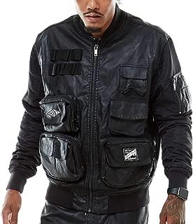 MOKE Rise Fashion PU Utility Jacket(JJ9993) Black