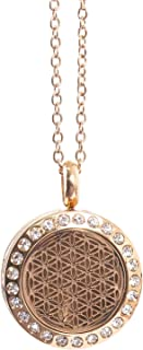 Mystic Moments | Flower of Life | Aromatherapy Oil Diffuser Rose Gold Necklace Locket with Pad